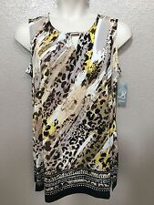 65 NEW JM Collection Womens Plus Sizes Scoop Neck Key Hole Animal Print Tank Top
