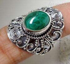 Malachite Solid Silver, 925 Bali Handcrafted Ring 35030