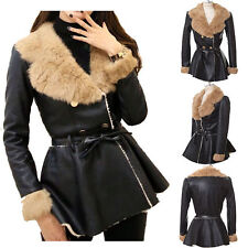 MAGZERO Last Sale Womens Rabbit Fur Double Breasted Fur leather Jacket(~3/31)