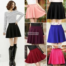 Women Candy Color Stretch Waist Plain Skater Flared Pleated Mini Skirt B5UT01
