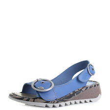Womens Fly London Tram Smurf Blue Leather Low Wedge Sandals  Size