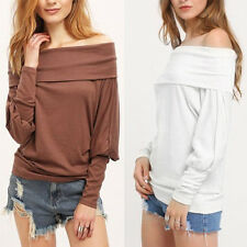 Fashion Sexy Women Off Shoulder Casual Loose Batwing Sleeve T-Shirt Tops Blouse