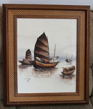 Original Oil Painting on Canvas -  Asian Fishing Boats, Sea, Signed by P. Wong