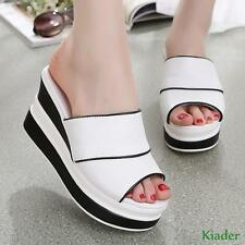 New Fashion Womens Peep Toe Mules Sandals High wedge heels platform Casual Shoes
