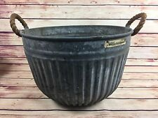 Vtg XL Round Galvanized Metal Wash Tub Bucket Rope Handles Garden Farm Plant