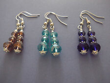 Handmade Faceted Crystal Bead Drop Earrings Silver Plated Caps & Daisy Beads