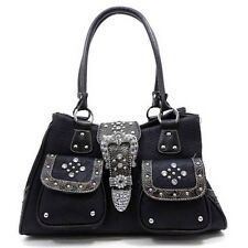 Rhinestone Studded Buckle Western Two Pocket Purse Black NWT