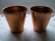 Antique / Vintage Pair of Copper plant pots. 11cm tall, 11cm diameter at the top