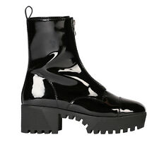 Womens Zip Up Front High Top Lug Chunky Platform Ankle Boots in Black Patent 3-8