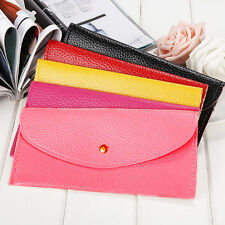 New Women Candy Color Envelope Clutch Bag Thin Wallet Purse Card Holder Soft US
