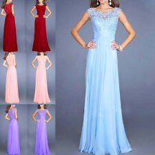Fashion Long Chiffon Lace Evening Formal Party Ball Gown Prom Bridesmaid Dress