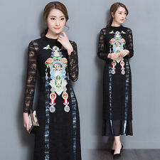 Fashion Women's Lace Embroidery Casual Cocktail Party Evening Long Maxi Dress