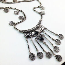 Women Fashion Bohemian Gypsy Boho Silver Coin Long Chain Tassel Pendant Necklace