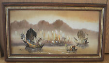 Original Oil Painting on Canvas -  Asian Fishing Boats, Sea City. Signed by Chan