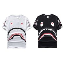 Fashionable Men Male Round Neck Cotton Shark Printed Short Sleeve Men Shirt F7