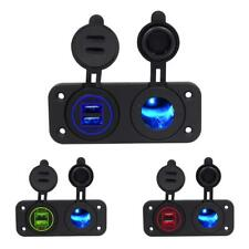 Dual USB Charger Port +12V Cigarette Lighter Socket Panel for Car Boat