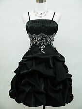 Cherlone Satin Black Sparkle Prom Ball Cocktail Party Bridesmaid Evening Dress