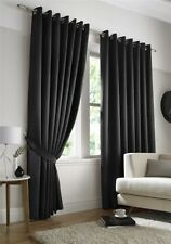 BLACK MICRO DOT SPOTTY FULLY LINED RING TOP CURTAINS DRAPES 9 SIZES