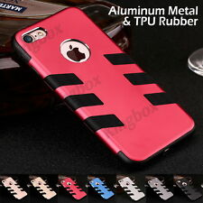 Hybrid Heavy Duty Aluminum Alloy Metal Soft TPU Shockproof Case Cover For iPhone