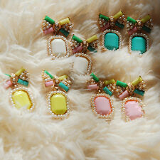Color Fashion Earrings Elegant Gem New Stud Candy Stud Earring 1Pair Pearl Bow