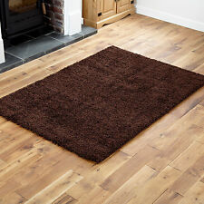 Chocolate Brown Small Large Modern Thick 5cm High Shaggy Rugs Runner Round