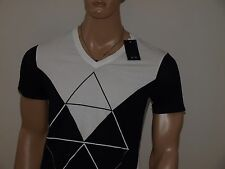 Armani Exchange Authentic Colorblock Logo V neck T Shirt White NWT