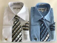 New Karl Knox Boys Solid Point Collar French Cuffs Dress Shirt Tie and Hanky Set