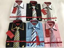 New Bergati Boys Solid Spread Double Collar French Cuffs Dress Shirt and Tie
