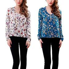 Floral Printed T-shirts Women Cotton Long Sleeve Blouse Tops Casual Shirts M58