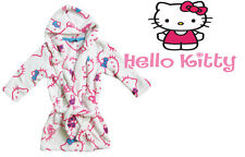 Girls Children Dressing Gown White Fluffy bath Robe Hello Kitty NEW 2/3 3/4 4/5