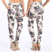 NEW CELEBRITY WOMENS LADIES SUMMER FLORAL PRINT NEON FLORAL CREPE TROUSERS