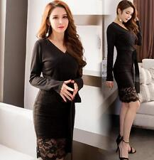 Sexy Women's Long Sleeve Slim Casual Lace V-Neck Cocktail Party Evening Dress