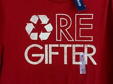 mens Christmas Old Navy Re-Gifter red shirt, short sleeve S, M, XL