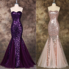 Women SEQUINS Evening Formal Wedding COCKTAIL Party Prom Dress Long Pageant Gown