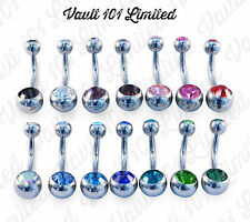 Belly Button Bar Navel Ring Double Gem Surgical Steel 1.6mm x 10mm