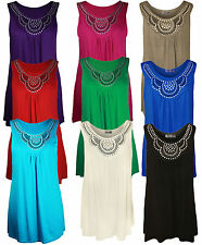 New  Womens Plus Size Studded Vest Ladies Stretch Tunic Top