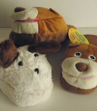 """Crazy Slippers White Plush Puppy or Growling Bear Scuff Slippers Sz Small 7.8"""""""