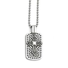 Stainless Steel Passion Cross in Dog Tag Pendant Necklaces - 43x26mm Bead