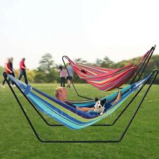 Huge Double Cotton Hammock Steel Frame Stand Air Chair Hanging Swinging Camping