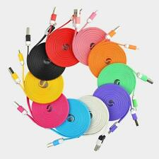 2x 3M Flat Noodle USB Sync Data Charger Cable Cord for iPhone 5/S/C 6/Plus 7 7p