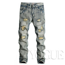 Fashion Ripped Jeans Mens Straight Slim Fit Blue Distressed Holes Skinny Pants