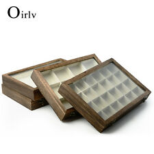Oirlv Jewelry Display Case Collectibles Storage Box Glass Top Lid Dark Oak Color