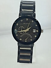 Men's Bulova 98D109 Two Tone Stainless Steel Diamond Accent Black Dial Watch