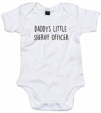 SHERIFF OFFICER BODY SUIT PERSONALISED DADDYS LITTLE BABY GROW GIFT