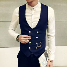 Formal Waistcoat Vest Double breasted Slim Fit Chain Business Dress Wedding Suit