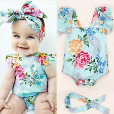 Summer Kids Toddles Girl's Casual Sleeveless Floral Romper Jumpsuit + Head Band