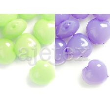 52pcs Acrylic Jelly-like Heart Beads DIY Jewelry Making Green/Purple 10x10mm DIY
