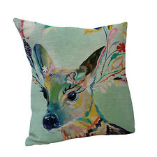 18 inch Colorful Deer Throw Pillow Cushion Cover Home Sofa Car Decor Mystic