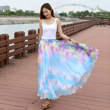 Summer Women's Chinese Painting Boho Beach Maxi Dress Elastic Waist Long Skirt
