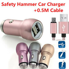 Dual USB Mini Safety Hammer Car Charger Adapter+0.5M Micro USB OR Type-C Cable